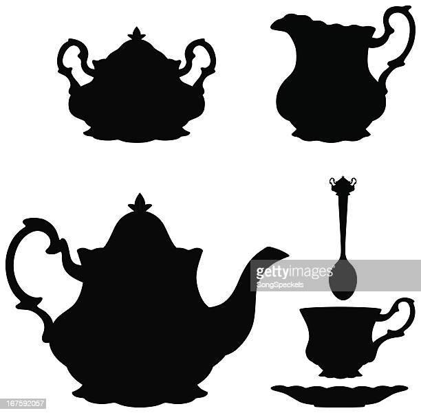 Vector illustration of tea kettle silhouettes