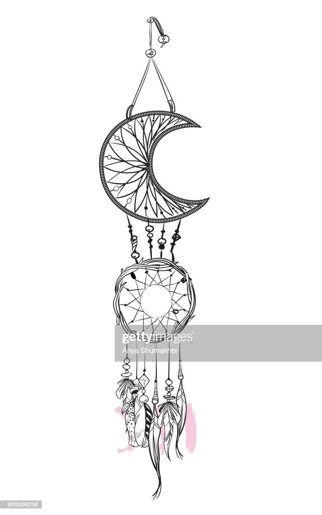 Vector illustration with hand drawn dream catcher with pink accents. Feathers and beads.