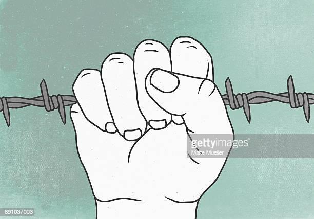 Vector image of prisoner holding barbed wire against colored background representing escapism