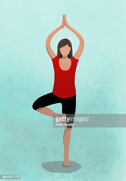 vector image of woman practicing tree pose against blue background representing healthy lifestyle - illustration technique stock illustrations