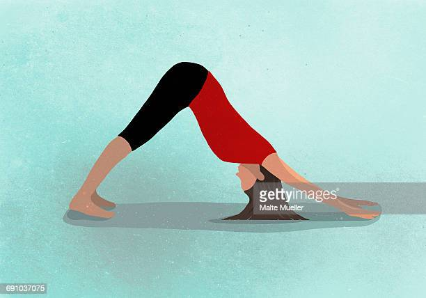 vector image of woman practicing yoga against blue background depicting healthy lifestyle - exercising stock illustrations