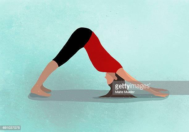 ilustraciones, imágenes clip art, dibujos animados e iconos de stock de vector image of woman practicing yoga against blue background depicting healthy lifestyle - yoga