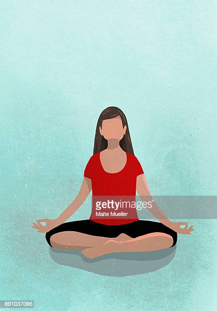 vector image of woman sitting in lotus position against blue background depicting healthy lifestyle - lotus position stock illustrations, clip art, cartoons, & icons