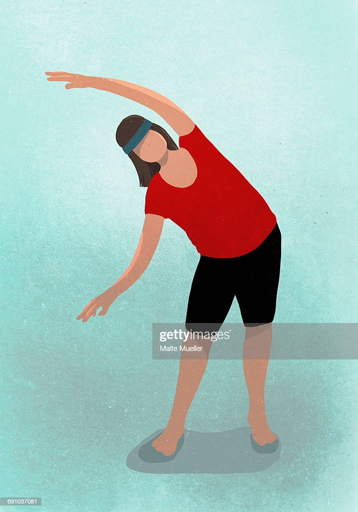Vector image of woman stretching while practicing yoga against blue background : Stock Illustration