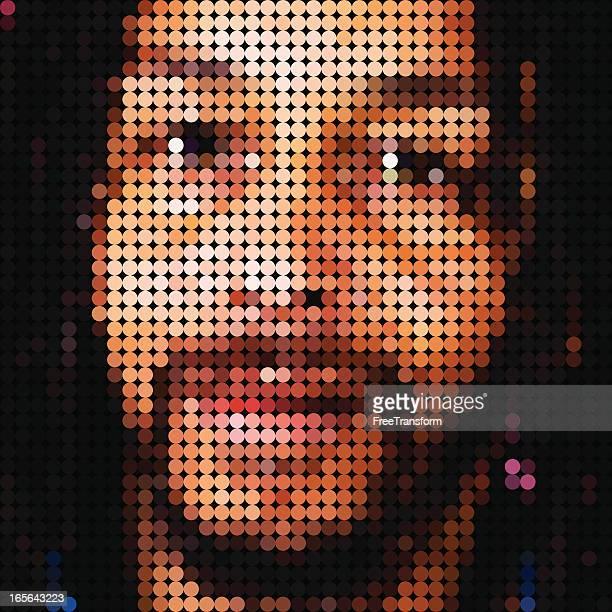 vector mosaic portrait - free mosaic patterns stock illustrations