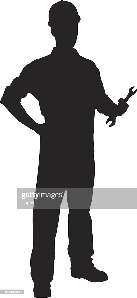 Vector of a handyman holding wrench