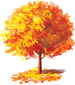 Vector of abstract autumnal  tree.