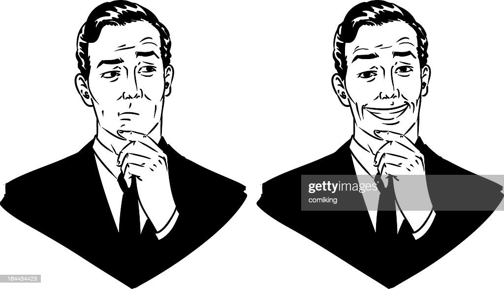 Vector of businessman with facial expressions