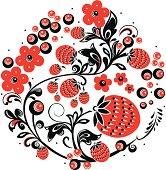 "Vector  Russian traditional Illustration of ornament ""Hohloma"" .   eps 10"