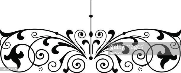 ilustrações, clipart, desenhos animados e ícones de rolagem de vetor de design - moldura preta