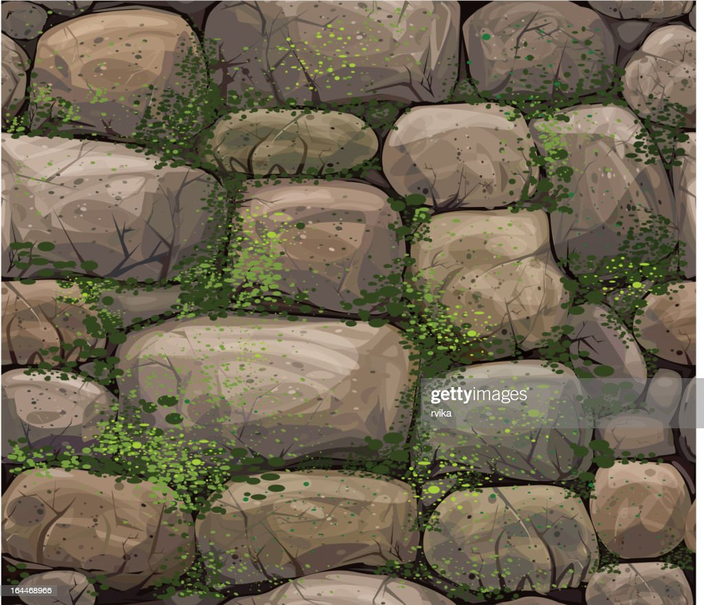 Vector seamless texture of stones covered moss.