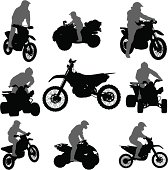 Vector silhouettes of motorcycles and ATVs