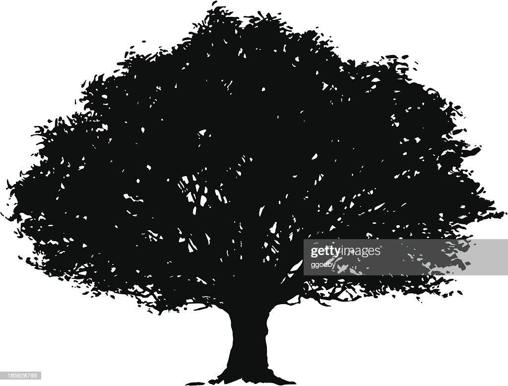 Vector Illustration Tree: Vector Tree Silhouette Vector Art
