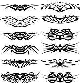 vector tribal tattoo set