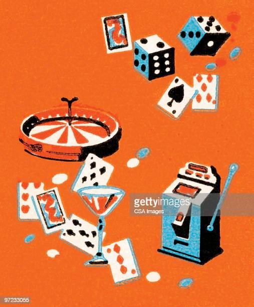 ilustraciones, imágenes clip art, dibujos animados e iconos de stock de vegas accouterments - jugar a juegos de azar