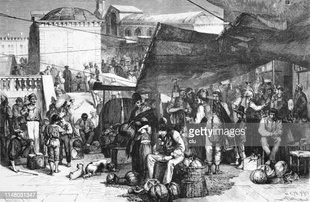 ilustraciones, imágenes clip art, dibujos animados e iconos de stock de mercado de hortalizas y frutas en el puente de rialto en venecia - puesto de mercado