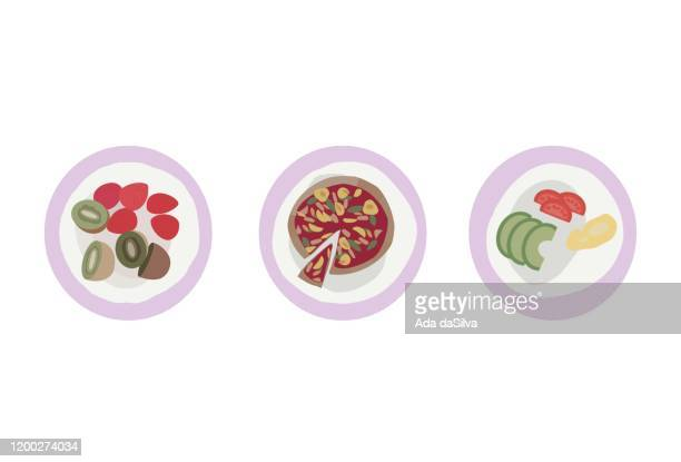 vegetable and fruits food icon set. - collagen stock illustrations