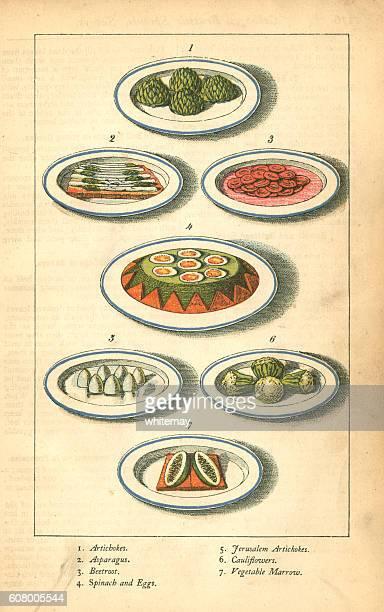 Vegetable dishes - Victorian illustration