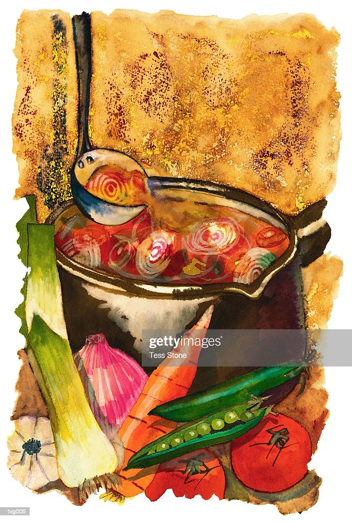 Vegetable Soup Pot : Stock Illustration