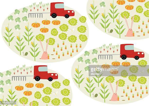 veggie farm pattern - bok choy stock illustrations, clip art, cartoons, & icons