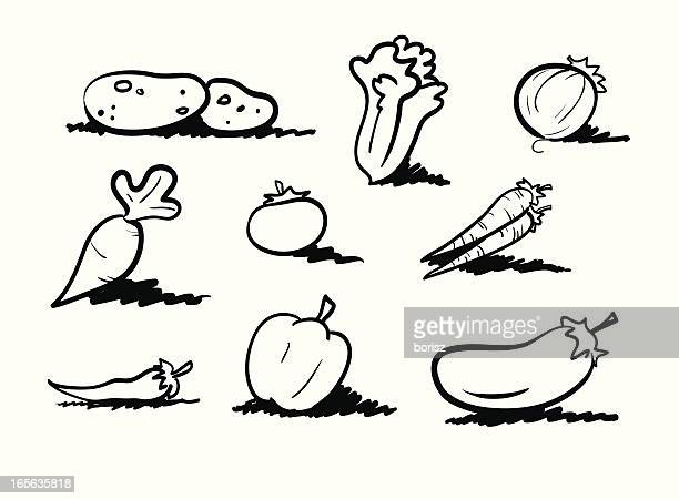 veggies - marrom stock illustrations