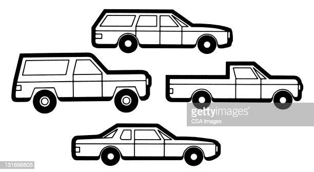 vehicles - four objects stock illustrations