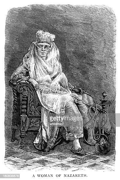 veiled middle eastern woman holding a hookah pipe - hookah stock illustrations, clip art, cartoons, & icons