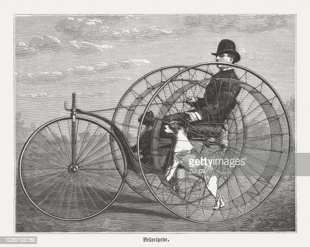 Velocipede, three-wheeler with steam drive, wood engraving, published in 1876
