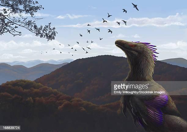 velociraptor in an autumn landscape. - velociraptor stock illustrations