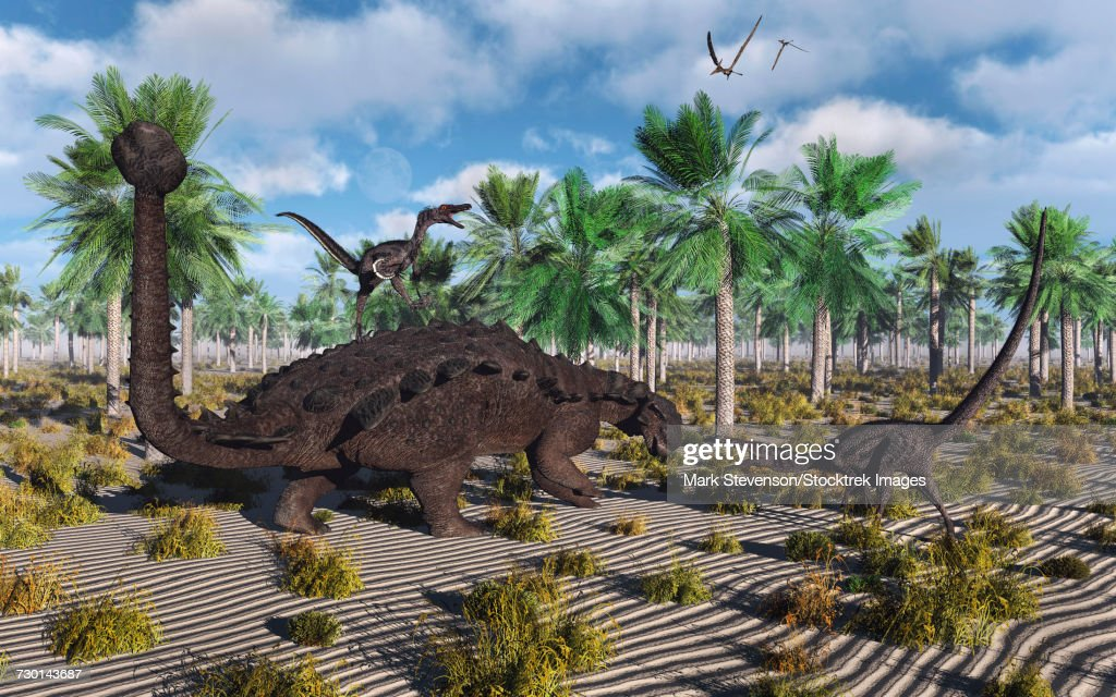 Velociraptors attacking an armored Pinacosaurus dinosaur. : stock illustration