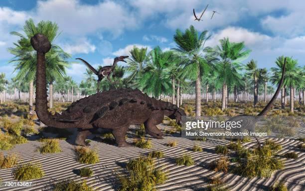 velociraptors attacking an armored pinacosaurus dinosaur. - scute stock illustrations, clip art, cartoons, & icons