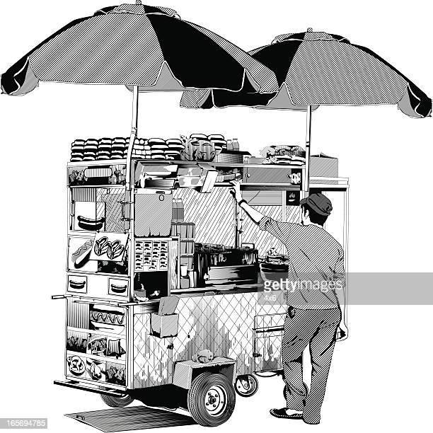 ilustraciones, imágenes clip art, dibujos animados e iconos de stock de proveedor con la cesta de alimentos - puesto de mercado