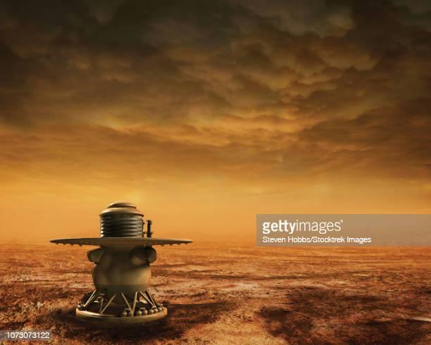 Venera 14 lander rests silently on the landscape of Venus.
