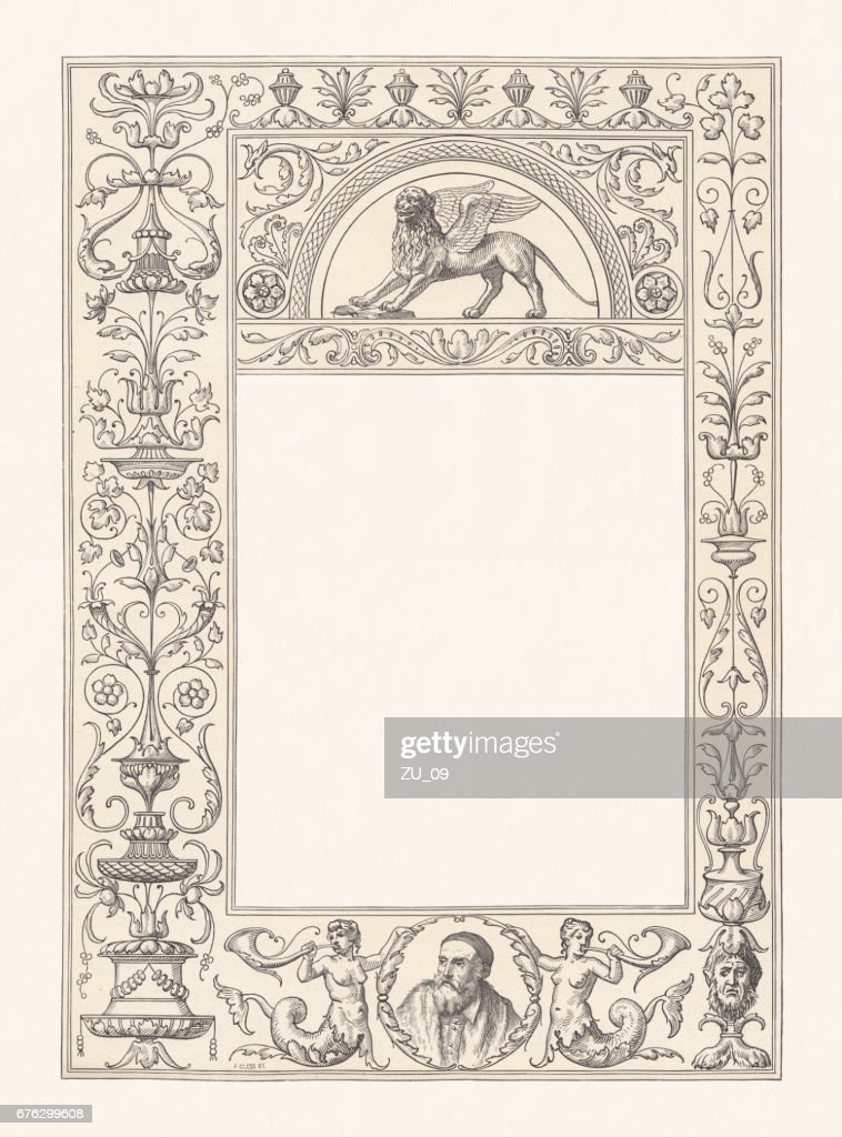 Venetian renaissance frame with copy space, wood engraving, published 1884 : stock illustration