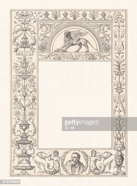 venetian renaissance frame with copy space, wood engraving, published 1884 - architectural feature stock illustrations, clip art, cartoons, & icons