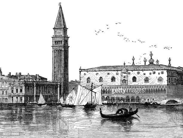 venice - victorian engraving - venice italy stock illustrations, clip art, cartoons, & icons