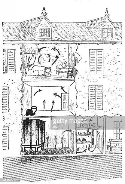 ventilation of the air in a villa in cannes, cross section - cannes stock illustrations, clip art, cartoons, & icons