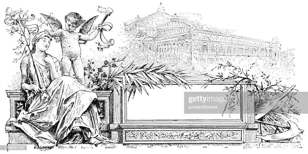 Venus and Cupid - 19th Century : Stock Illustration