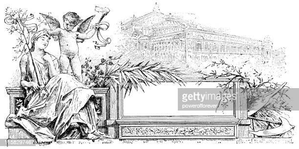 venus and cupid - 19th century - venus roman goddess stock illustrations, clip art, cartoons, & icons
