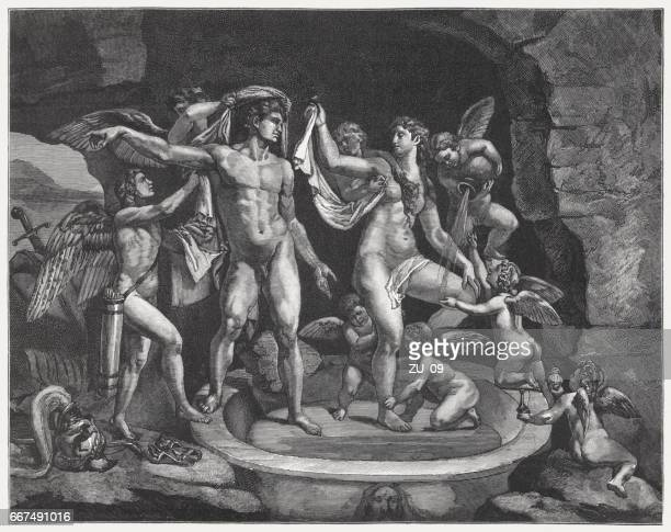 venus and mars bathing, painted (1525/28) by giulio romano, mantua - roman goddess stock illustrations, clip art, cartoons, & icons