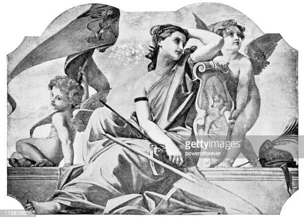 venus and putti by paul-jacques-aime baudry - 19th century - roman goddess stock illustrations
