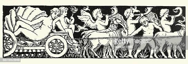 ilustraciones, imágenes clip art, dibujos animados e iconos de stock de venus y cherubs - roman goddess