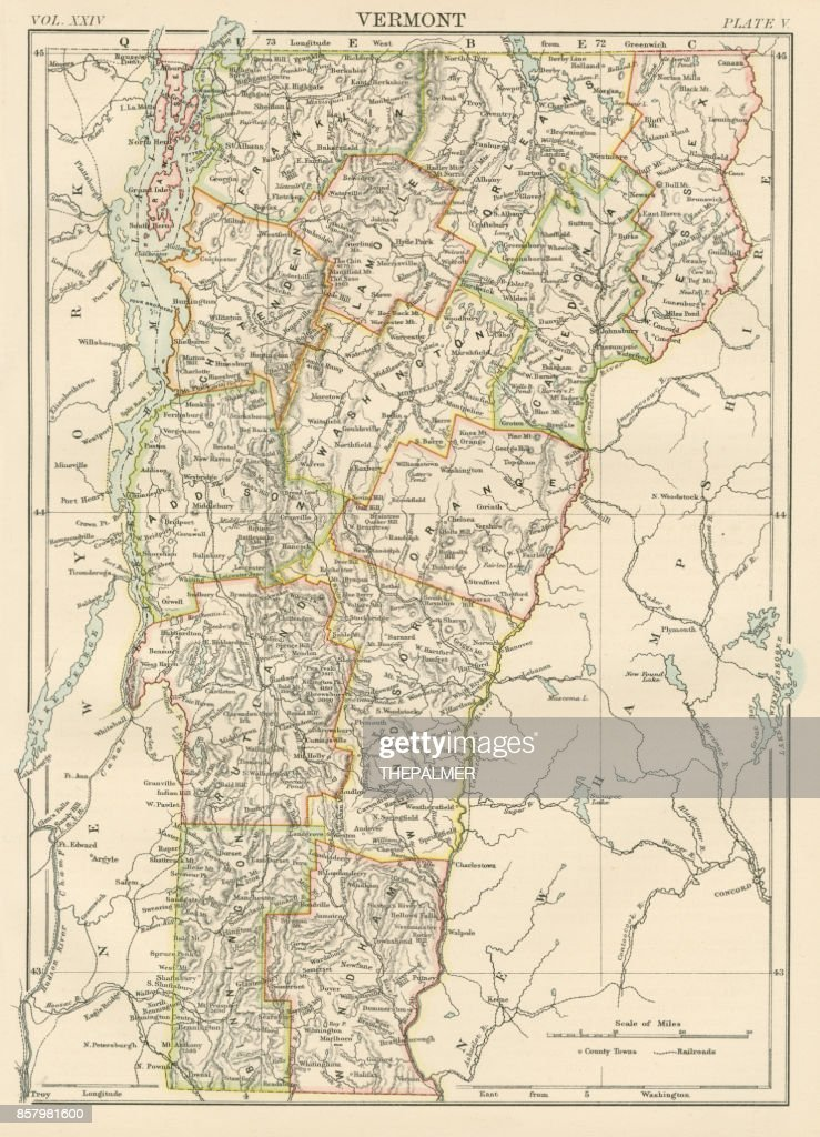 Vermont Usa Map 1885 stock illustration - Getty Images