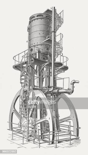 vertical blowing engine, american product, wood engraving, published in 1897 - supercharged engine stock illustrations, clip art, cartoons, & icons