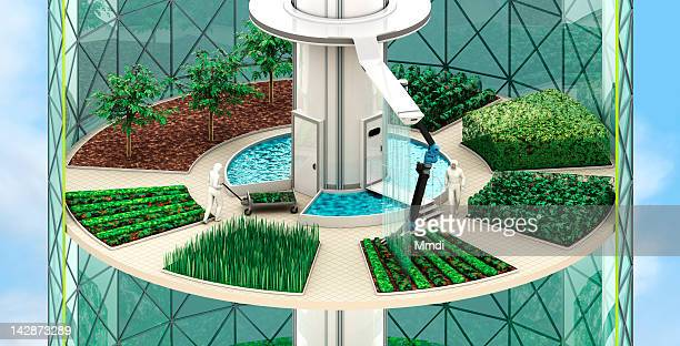 vertical farming - crops - built structure stock illustrations