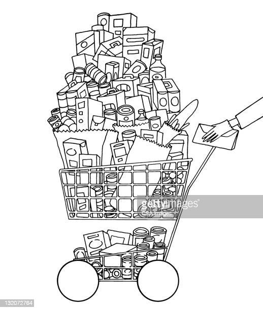 60 Top Full Grocery Cart Stock Illustrations, Clip art