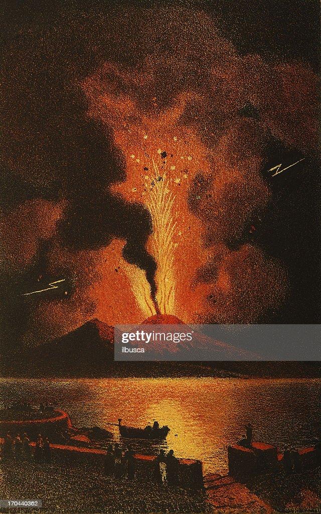 Vesuvius volcano eruption : stock illustration