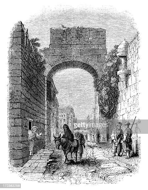 via dolorosa, jerusalem (victorian woodcut) - jerusalem stock illustrations, clip art, cartoons, & icons