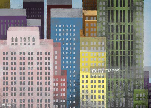 vibrant colored skyscrapers - city life stock illustrations, clip art, cartoons, & icons