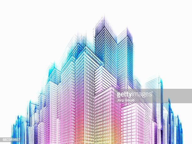 vibrant skyscrapers - growth stock illustrations